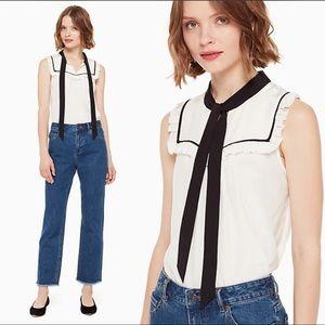 Kate Spade Tie Neck Shell black white silk blouse